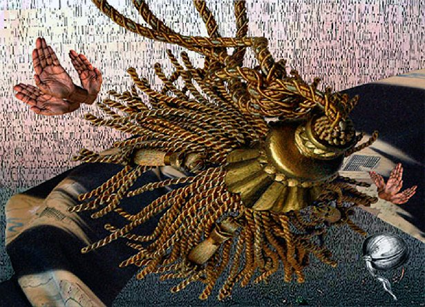 "udith Ostrowitz, Painted Sun, Digitized imagery on Plexiglas, 2010. 62"" x 44½"" x 1½"""