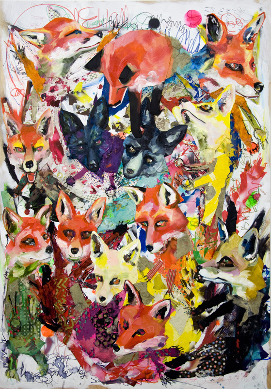 """13 Kitsune"" Mixed Media Collage and Oil on Panel Board (46"" x 66"")"