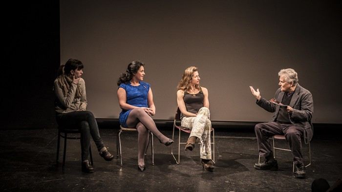 From left to right: Sarah Violet Bliss (Priceless Things), Margarida Sardinha (Hyperlightness) and Alysia Rheiner (Speed Grieving) with Q&A moderator and Academy Awards jury member Larry Loonin.
