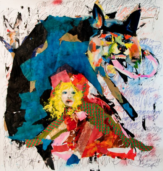 """The Wolf in Youth"" Mixed Media Collage and Oil on Archival paper (50.5""x51"")"