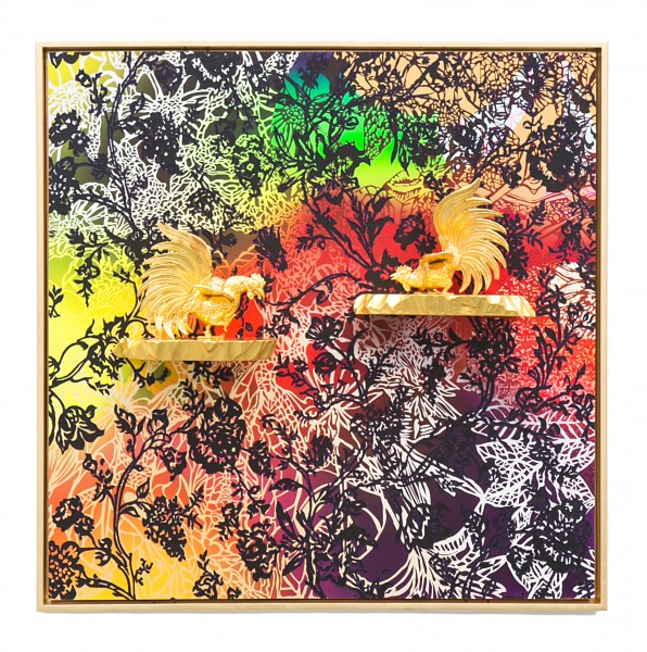 Carlos Rolon, Cockfight (Club Gallistico), 2014, acrylic, quartz crystals, Spanish cedar, 24 kt. gold leaf, metal and gold platting on wood panel, 40 x 40 x 2 1/2 inches, 101.6 x 101.6 x 6.4 cm. Image courtesy of the artist and Paul Kasmin Gallery. Photography by Jeff Elstone.