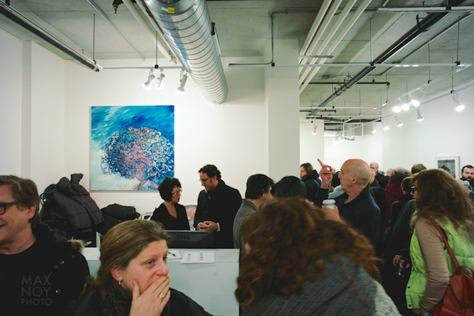 The packed house at Lesley Heller Workspace