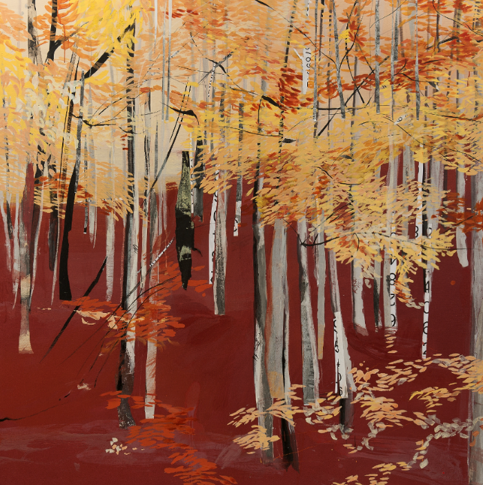 Through the Forest #11 by Regina Saura, mixed media, 67 x67 in.