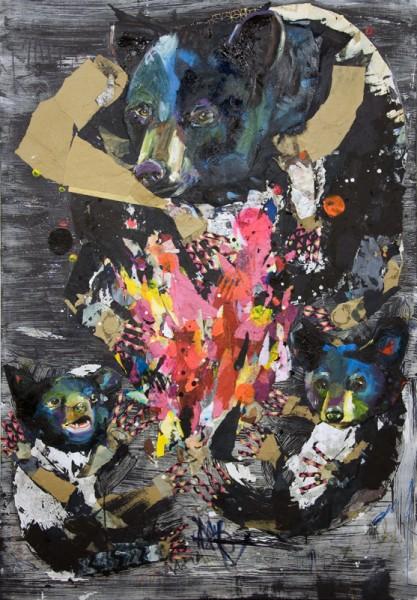 """Tikba Nita"" Mixed Media Collage and Oil on Panel Board (46"" x 66"")"