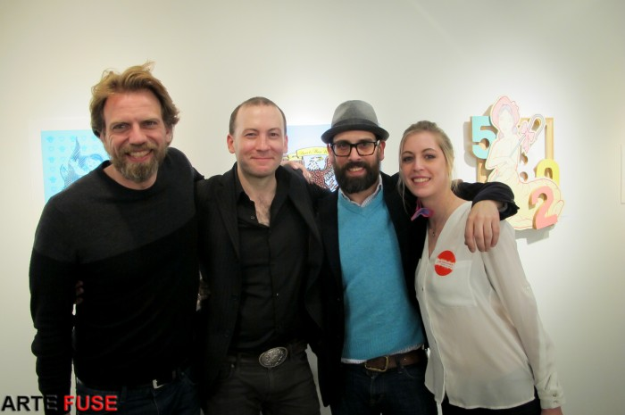 (L-R) Frank Webster (artist), Jason Patrick Voegele (Lodge Gallery), Johnny Leo (Fountain art fair), and a helper at the event