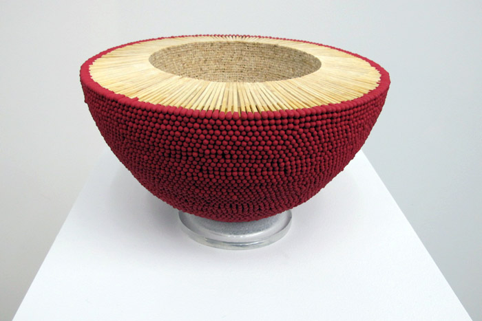 Ryan and Trevor Oakes MATCHSTICK DOME, 2013-2014 Matchsticks and gel matte medium, 9 x 9 x 4 ½ inches