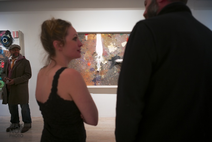 Perusing the work of Marcus Jansen at his opening in Castle Fitzjohns Gallery