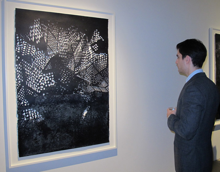 James Scott, UNTITLED, 2013 Acrylic, sumi ink, and rice paper on laser cut paper, 61 x 41 inches