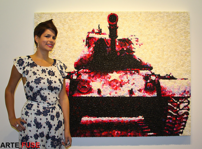 Artist Lisa Alonzo at her opening in Claire Oliver Gallery