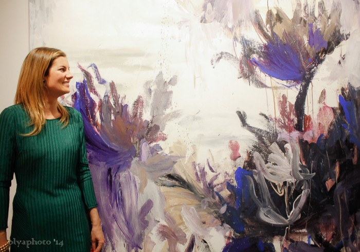 Beatriz Elorza breathing in the accomplishment of her first major NY show