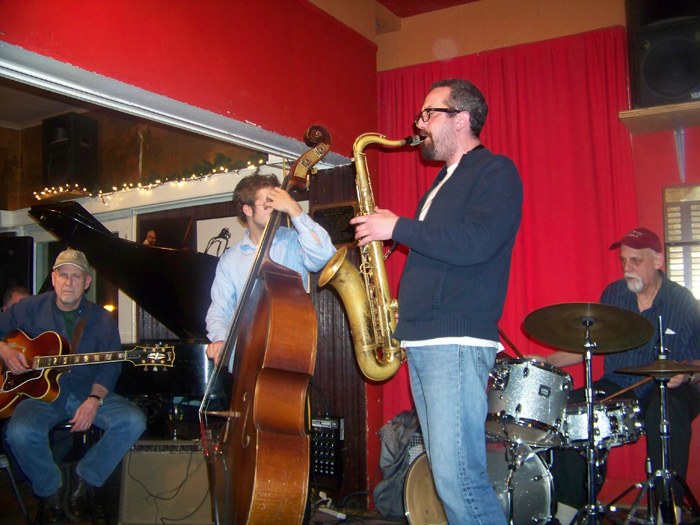 Bill Goodwin Quartet: Bill Washer - guitar Adrian Moring - bass Adam Niewood - saxophone Bill Goodwin - drums photo credit: SUSAN BUZZURO