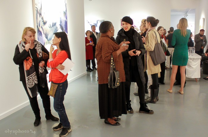 The art aficionados came out for the bright works of Beatriz Elorza