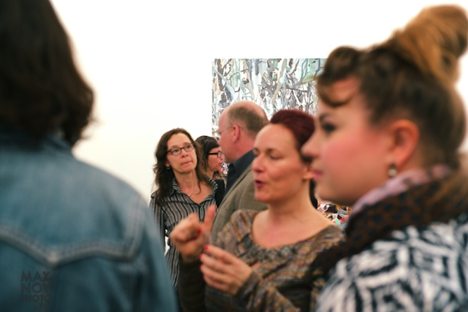 Asya Geisberg (center) in the midst of the art action