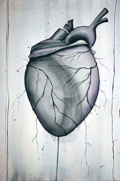 Heart by Tracy DiTolla watercolor on paper 15x22 inches