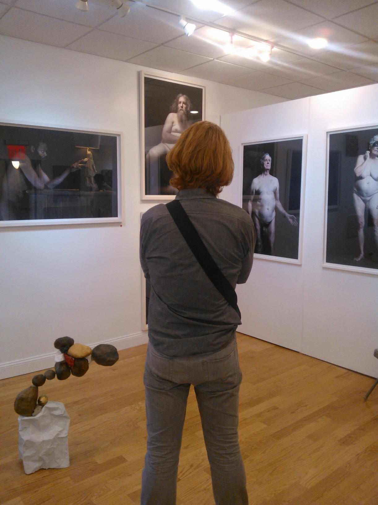John Francis surveying his art at Verge photo by OL