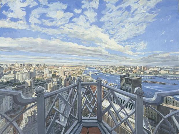 John Wonnacott New York: Looking to Brooklyn Bridge 2000-2002 Oil on board 36 x 48 in (92 x 122cm)