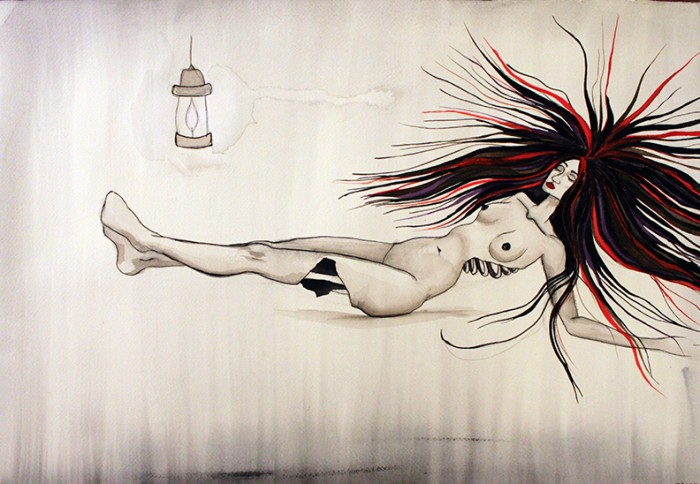 This is Immortality by Tracy DiTolla watercolor on paper 15x22 inches