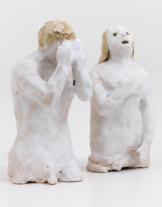 "Adam and Eve, 2014 glazed porcelain  4.25 x 4.75 x 2"""