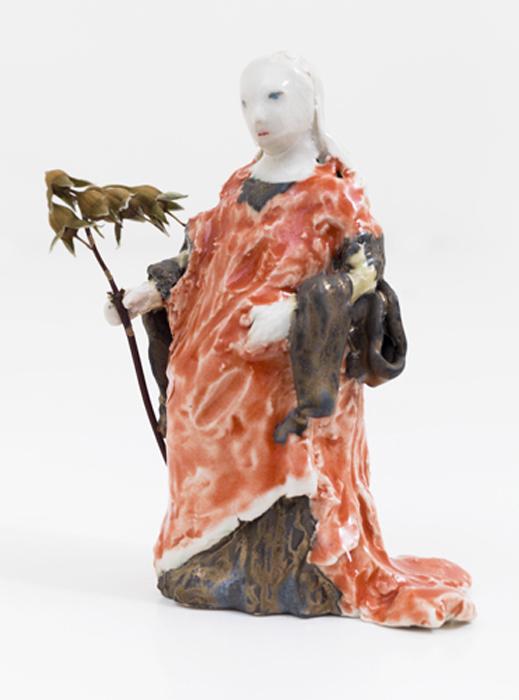 """Catherine of Alexandria, 2013 glazed porcelain with dried flower 5 x 4 x 2.5"""""""