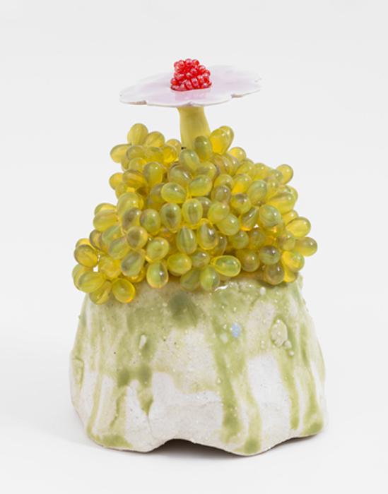 "Yellow Bead Flower, 2013 glazed stoneware and porcelain, glass beads  4.5 x 3.5 x 3.5"""