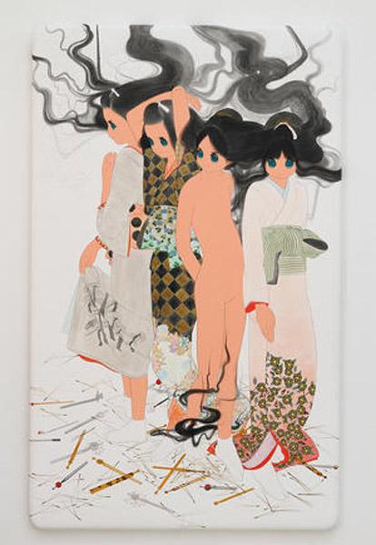 Ai Yamaguchi haru demo aki demo nai fuyu Acrylic on cotton, panel 2014 73 x 45 x 2.5 inches / 110 x 110 x 6 cm