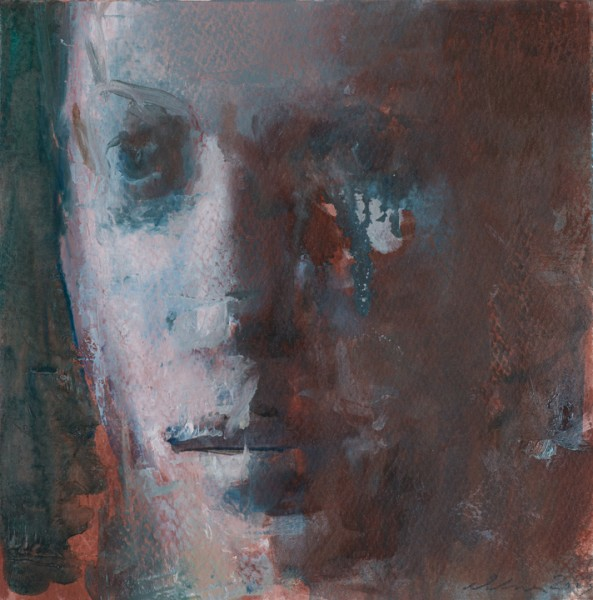 "Face / Sepia & Veridian 7x7"", oil on paper, 2013"