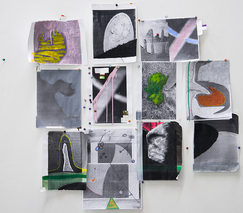 Project#5 Untitled 1 Gouache, acrylic, artist's tape, push-pins and laser prints 35 x 38 inches 2013