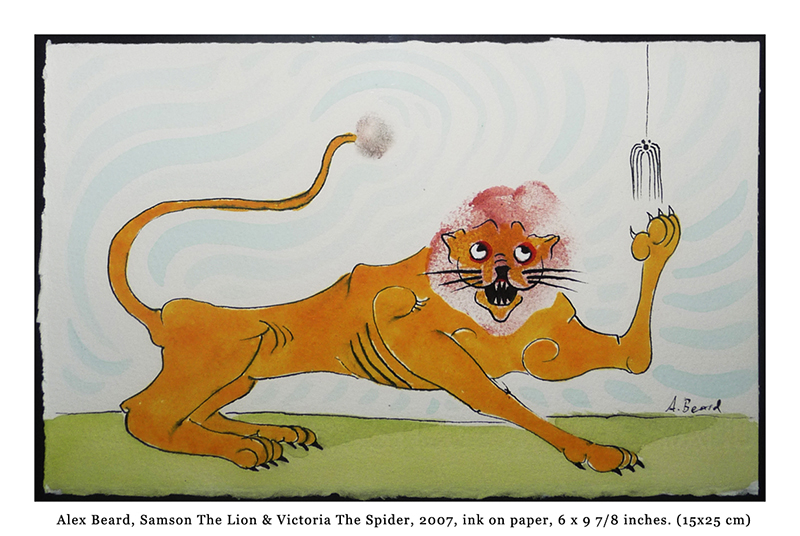 Samson The Lion and Victoria The Spider by Alex Beard ink on paper 6 x 9 & 7 8ths inches