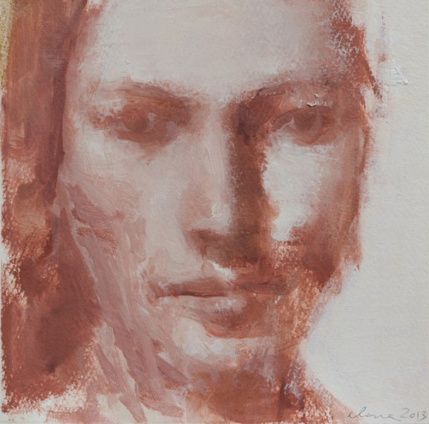 Untitled/Indian Red 7x7 oil on paper
