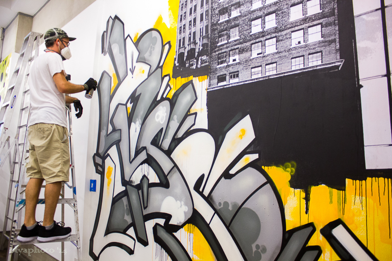The rare chance to see a street artist like Bisco Smith work to fill the walls of gallery nine5