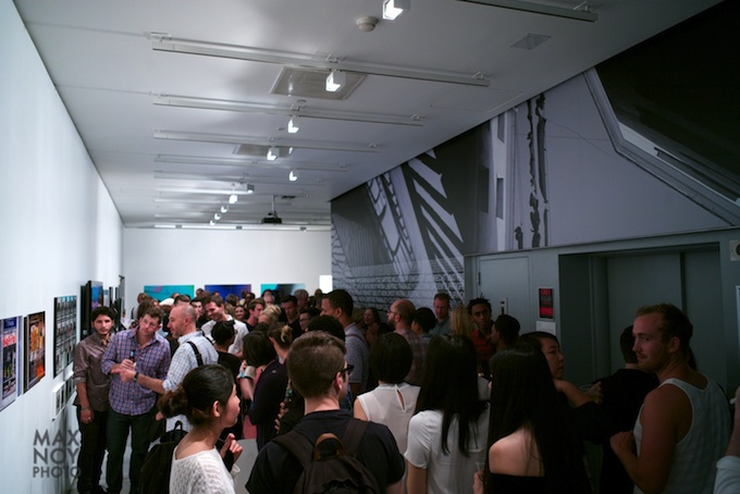 Attendees at the MFA Photography Graduate Thesis show at The Sheila C. Johnson Design Center Gallery
