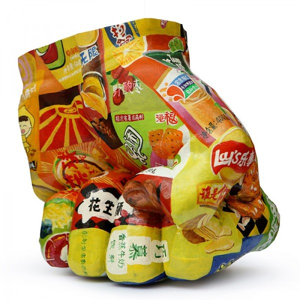 Liu Bolin, In Junk Food No. 3, 2014 Acrylic on copper, 14 1/8 x 14 1/8 x 10 1/4 inches (36 x 36 x 26 cm)