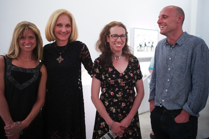 Claire Oliver (2nd from left) with the artist on her right Judith Schaechter