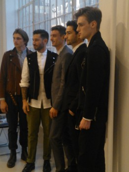Joshua Katcher designer (2nd from left) with models at his fashion presentation at Alexander Gray Associates