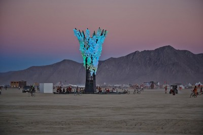 . Squared, Charles Gadeken (image by Evan Novis) SQUARED is a 50' tall fractal light sculpture in the form of a tree, made out of square steel tubing and 800 cast polyurethane cubes with individual LEDs. It provides shade during the day and an incredible light show at night.
