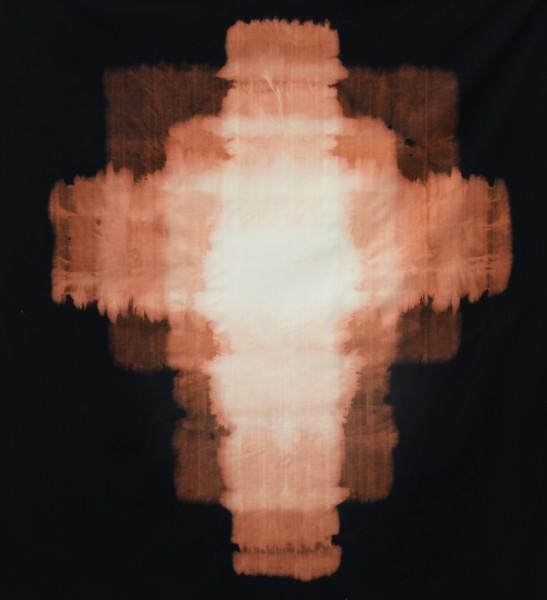 Star, 2014, sodium hypochlorite on black canvas, 68 x 62