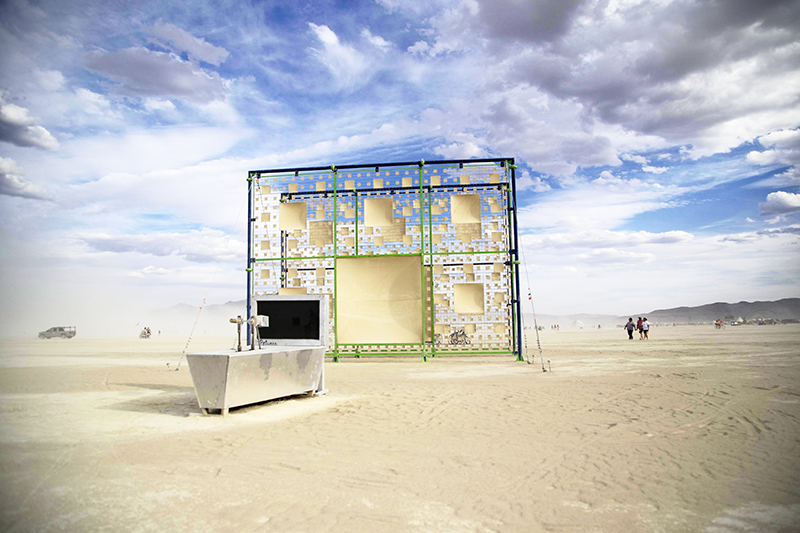 Between Dimensions, Nathan Kandus (image by Evan Novis) These two 20'x30' walls consist of 794 projection screens that create fractals as people move through them.