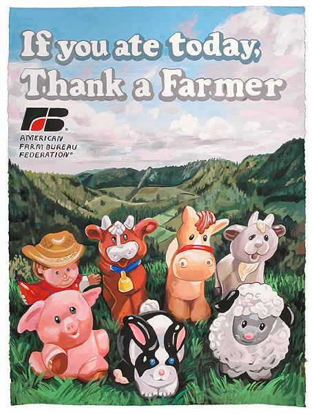 Thank a Farmer, 2014 Casein on paper 30 x 22 inches