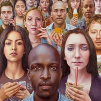 Amazing Social Satire: Future Tense by Alex Gross at Jonathan LeVine Gallery