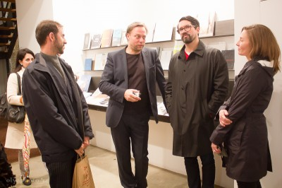 Artist Thomas Scheibitz ((2nd from left) with his guests at the opening