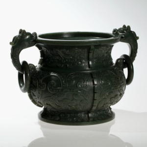 Significant & Large Jade Gui Vessel with Qianlong Mark, Qing