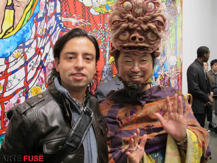 AF publisher Jamie Martinez with artist Takashi Murakami at his opening in Gagosian Gallery
