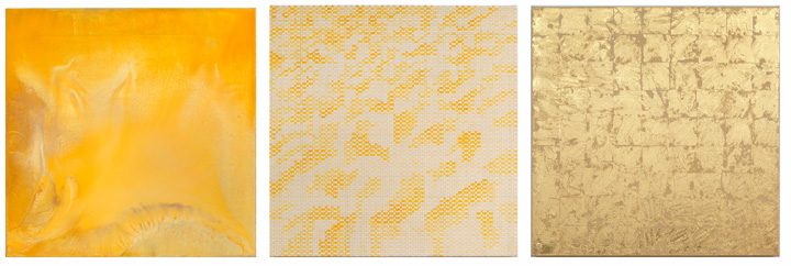 Desert Painting, 2014 _ Turmeric Grid, 2014 _ Gold Monochrome (Patent), 2014 all by Elise Adibi