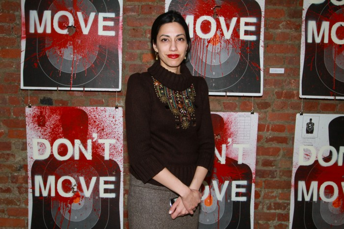 "Huma Abedin attends the opening reception of Ryan Piers Williams' ""Monsters and Landscapes"" Exhibition  Photo credit Moises DePena"