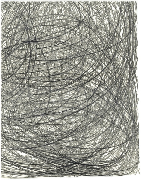 Adam Fowler, Untitled (4 Layers), 2012, Graphite on paper, hand cut, 14 x 11 inches (36 x 28 cm); Framed: 22 x 18 inches (56 x 46 cm)
