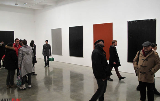 The art crowd at Metro Pictures in Chelsea