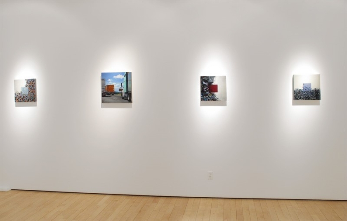 "Installation view: Oil on wood paintings L-R by Susan Breen ""Square XII"","