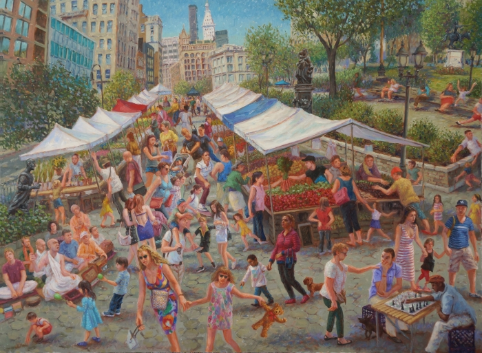 """Union Square"", 2013. Oil on Linen, 30"" x 40"""