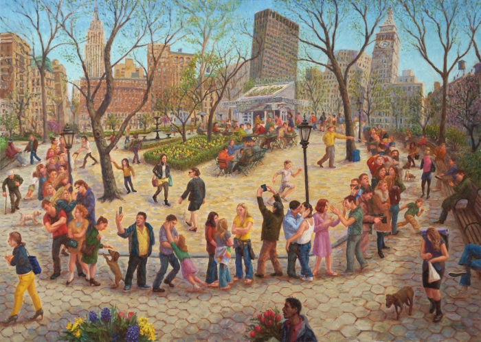 """Shake Shack Line, Madison Square Park"" 2014. Oil on Linen, 30"" x 40"""