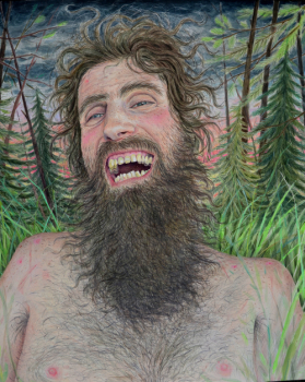 Rebecca Morgan, Mountain Man, 2014, 22 x 20 inches, Oil and graphite on Panel